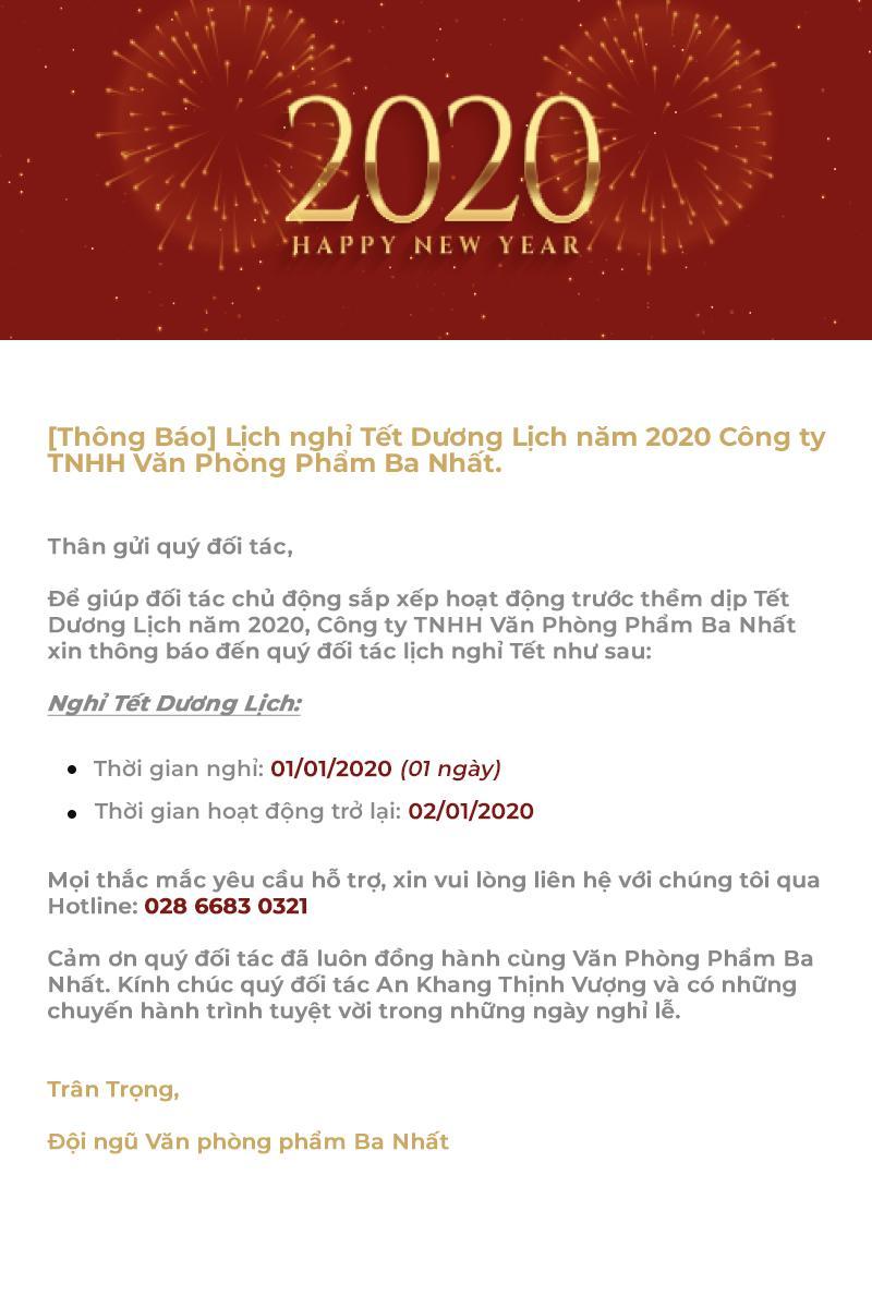 Lịch nghỉ Tết Dương Lịch năm 2020 Công ty TNHH Văn phòng phẩm Ba Nhất