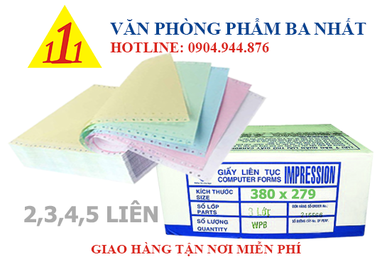 giấy in liên tục 380x279 nhiều liên, giấy liên tục 380x279 2 3 4 5 liên, nơi bán giấy in liên tục 380x279, giá giấy liên tục 380mm 2 3 4 5 liên, giấy liên tục liên sơn 380x279