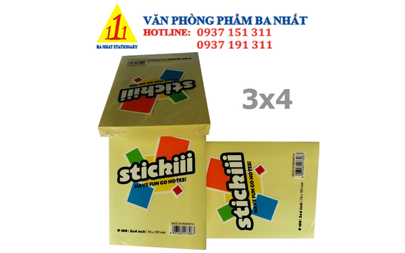 giấy note stickiii, giấy note màu stickiii, giấy note 3x4 stickiii, bộ giấy note dán, giấy note loại nhỏ, giấy note giá sỉ, giấy ghi chú 3x4