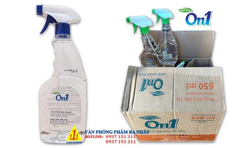 nước rửa tay khô, dung dịch rửa tay khô, chai xịt rửa tay sát khuẩn, dung dịch xịt rửa tay khô On1 650ml, on1 650ml, chai xịt rửa tay khô on1