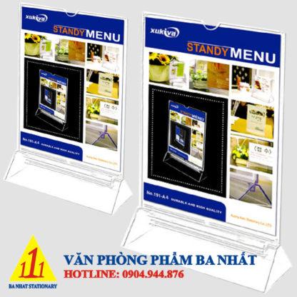 Khay menu A4, chân gắn menu nhựa trong, khay menu mica a4, khay menu a4, khay menu đựng thực đơn, khay đựng menu, mua khay menu mica a4, khay để menu, giá đứng để menu, bảng nhựa để menu