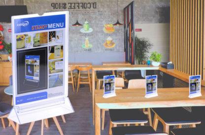 Khay menu A6, chân gắn menu nhựa trong, khay menu mica a6, khay menu a6, khay menu đựng thực đơn, khay đựng menu, mua khay menu mica a6, khay để menu, giá đứng để menu, bảng nhựa để menu, bảng menu mica trong, khay mica menu