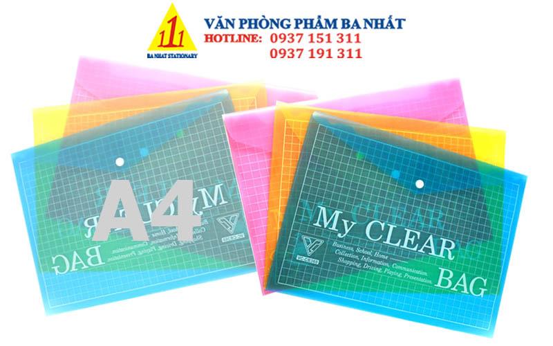 bìa nút màu, bìa sơ mi, bìa nút A4 màu, bìa clear, bìa sơ mi nhựa, my clear bag, bìa sơ mi nút, bìa nút A4 my clear màu, giá bìa nút A4 màu