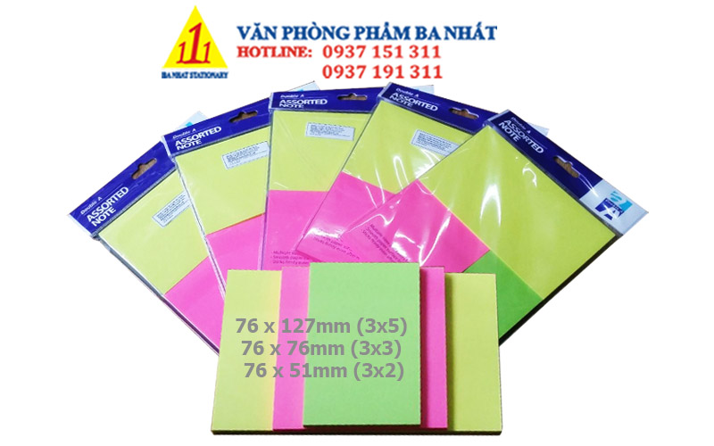 giấy note, giấy note màu, giấy note 3 size Double A, bộ giấy note dán, giấy note 3 màu, giấy ghi chú 3 kích cỡ, giấy ghi chú 3 màu, giấy note Double A