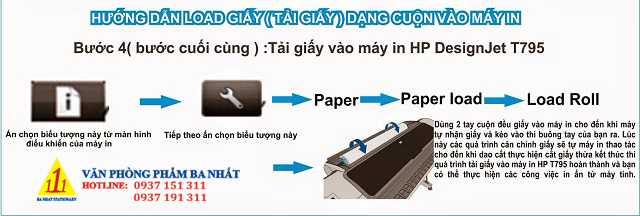 cách lắp cuộn giấy in vào máy in khổ lớn