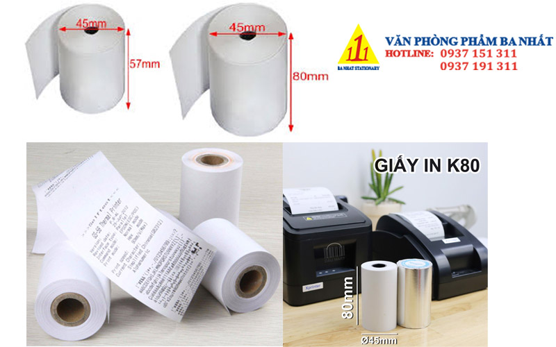 cuộn giấy in nhiệt, giấy cảm nhiệt k57, k58, k80
