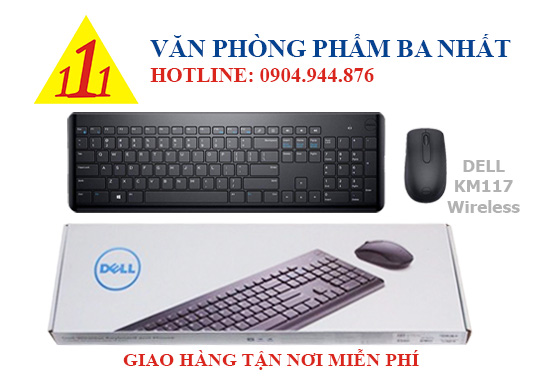 Bàn phím chuột không dây Dell KM117, combo bàn phím chuột không dây, Dell KM117