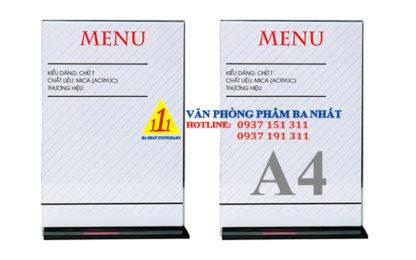 kệ mica a4 chữ T, kệ menu mica, khay menu mica A4 đứng chữ T, bảng menu đứng chữ T