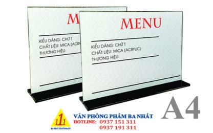 kệ mica a4 chữ T, kệ menu mica, khay menu mica A4 ngang chữ T, bảng menu ngang chữ T