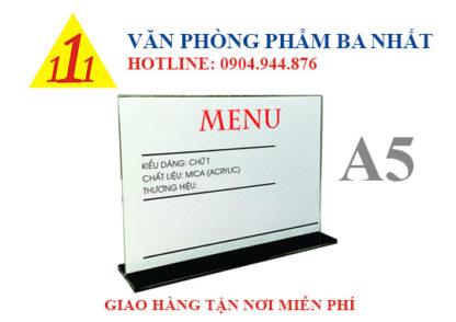 kệ mica a5 chữ T, kệ menu mica, khay menu mica A5 ngang chữ T, bảng menu ngang chữ T