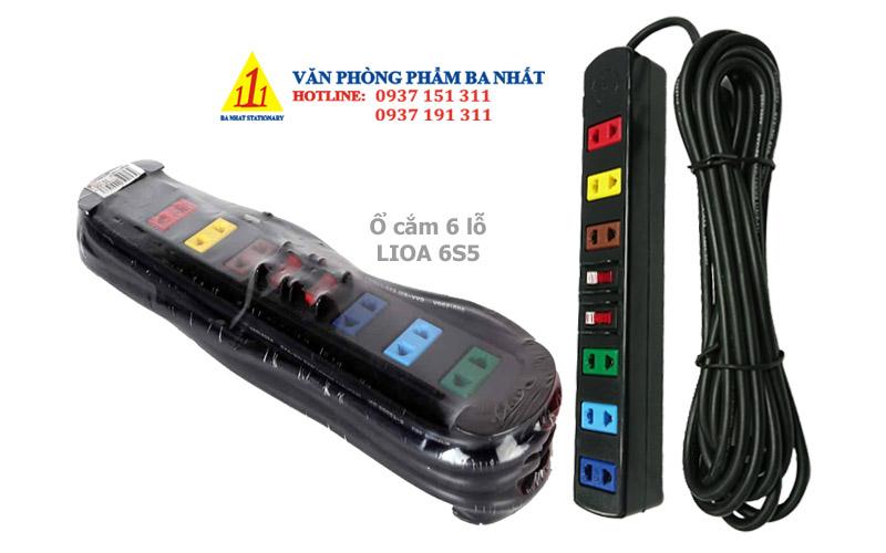 ổ cắm điện 6 lỗ, ổ cắm điện nối dài, ổ cắm điện lioa 6S5