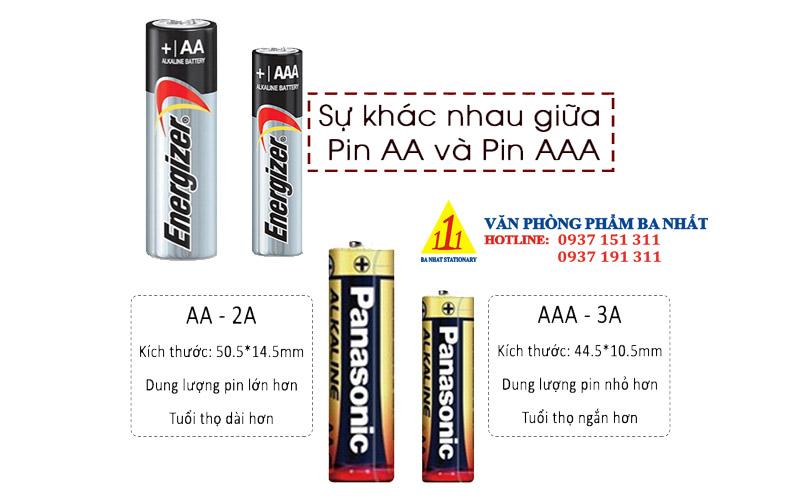 sự khác nhau giữa pin 2A và pin 3A