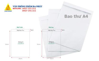 bao thư A4 trắng, bao thư trắng A4, kích thước bao thư A4